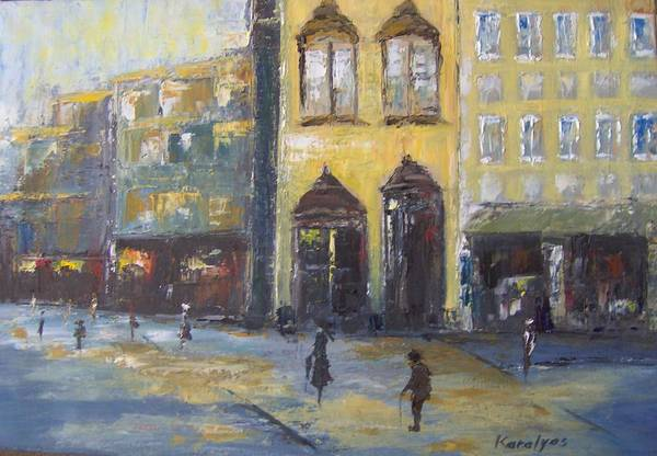 Streets Art Print featuring the painting Street Corner by Maria Karalyos