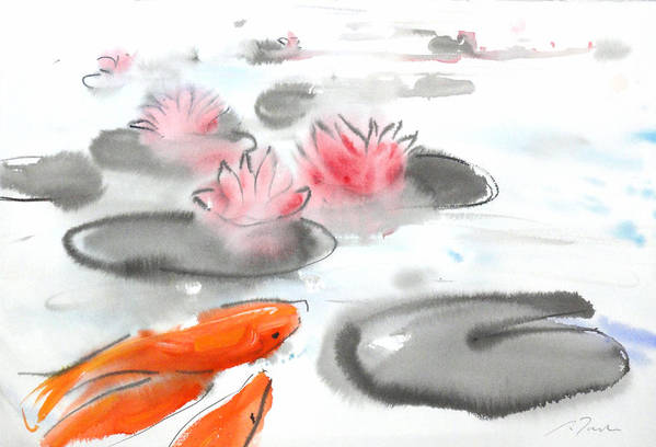 Woods Art Print featuring the painting Sumie No.11 Koi Fish And Lotus Flowers by Sumiyo Toribe