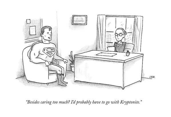 Job Interview Art Print featuring the drawing Superman Sits At A Job Interview by Jason Adam Katzenstein