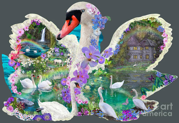 Swan Print featuring the digital art Swan Day Dream by Alixandra Mullins