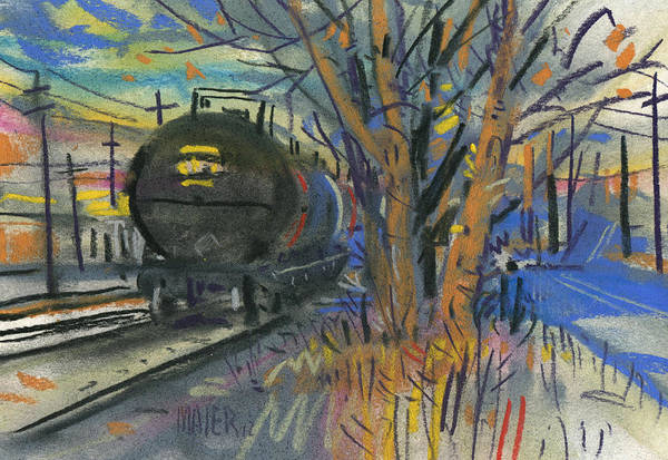 Pastel Art Print featuring the painting Tankers On The Line by Donald Maier