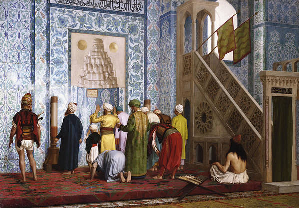 Interior Art Print featuring the painting The Blue Mosque by Jean Leon Gerome