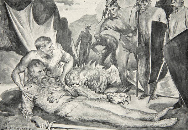 Beowulf Print featuring the drawing The Death Of Beowulf by John Henry Frederick Bacon