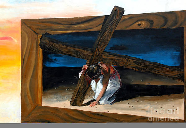 Painted Mural Print featuring the painting The Heaviest Cross To Bear by Linda Rae Cuthbertson