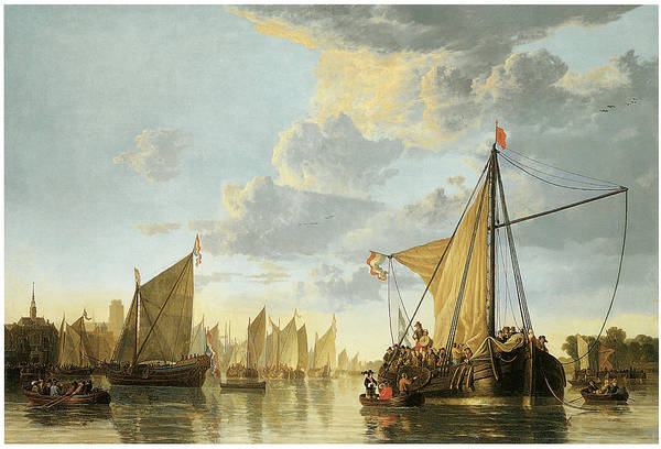 Aelbert Cuyp Print featuring the painting The Maas At Dordrecht by Aelbert Cuyp
