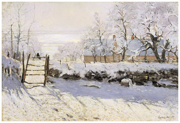 The Magpie Art Print featuring the painting The Magpie Snow Effect by Claude Monet