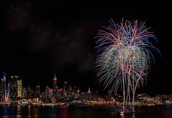 4th Of July Art Print featuring the photograph The New York City Skyline Sparkles by Susan Candelario