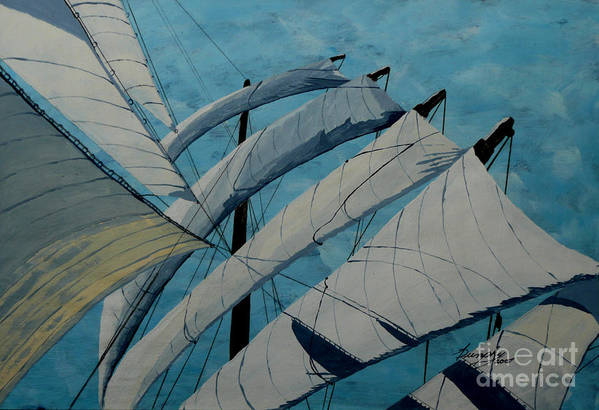 Sails Art Print featuring the painting The Tower Of Power by Anthony Dunphy