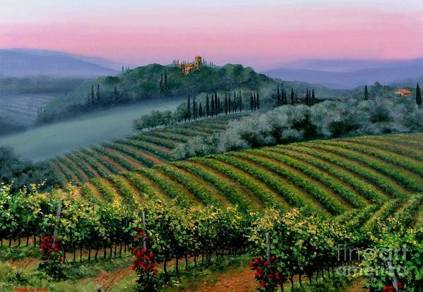 Tuscan Sunset Art Print featuring the painting Tuscan Dusk by Michael Swanson