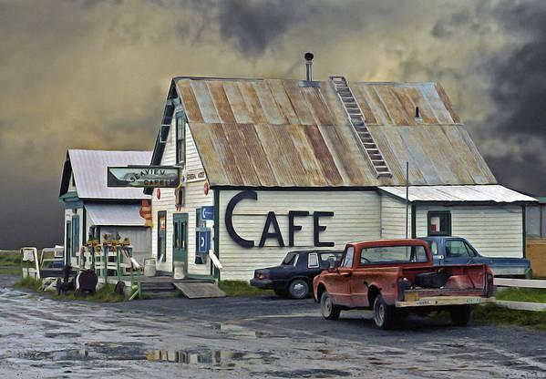 Alaska Art Print featuring the photograph Vintage Alaska Cafe by Ron Day