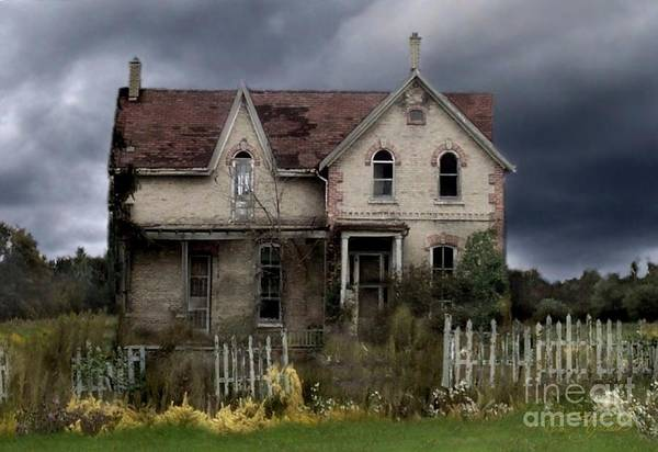 Haunted House Art Print featuring the photograph White Picket Fence by Tom Straub