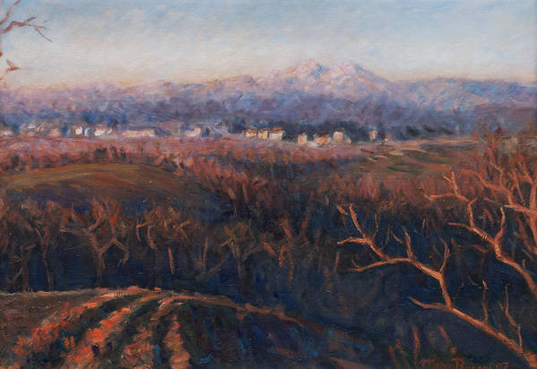 Sunset Art Print featuring the painting Winter Sunset In Brianza by Marco Busoni