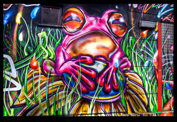 Graffiti Art Print featuring the photograph Atomic Frog by Beverly Cash