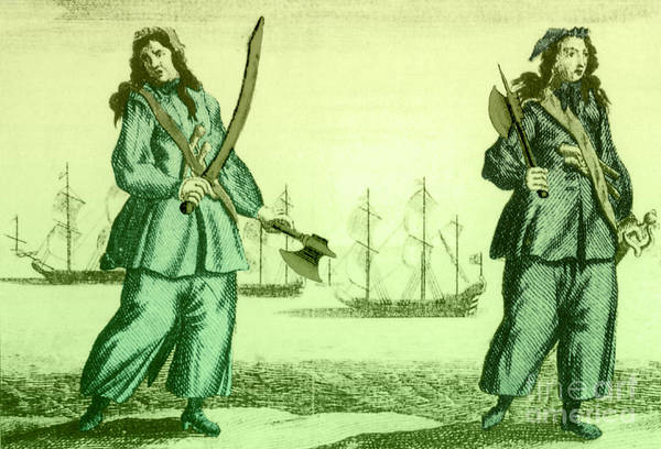 History Print featuring the photograph Anne Bonny And Mary Read, 18th Century by Photo Researchers