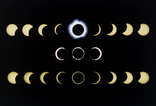 Eclipse Print featuring the photograph Composite Time-lapse Images Of Solar Eclipses by Dr Fred Espenak