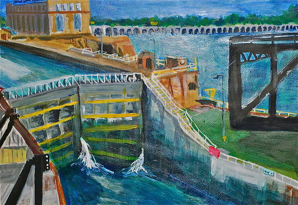 Dam Art Print featuring the painting Lock And Dam 19 by Jame Hayes