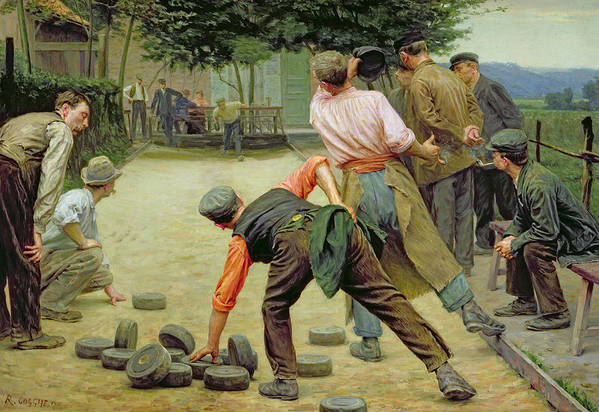 A Game Of Bourles In Flanders Art Print featuring the painting A Game Of Bourles In Flanders by Remy Cogghe