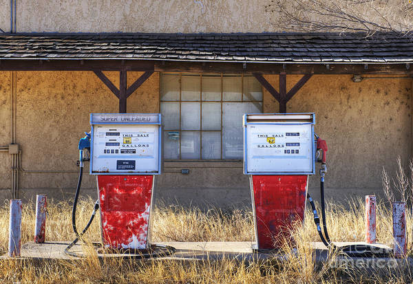 Abandoned Art Print featuring the photograph Abandoned Gas Pumps And Station by Dave & Les Jacobs