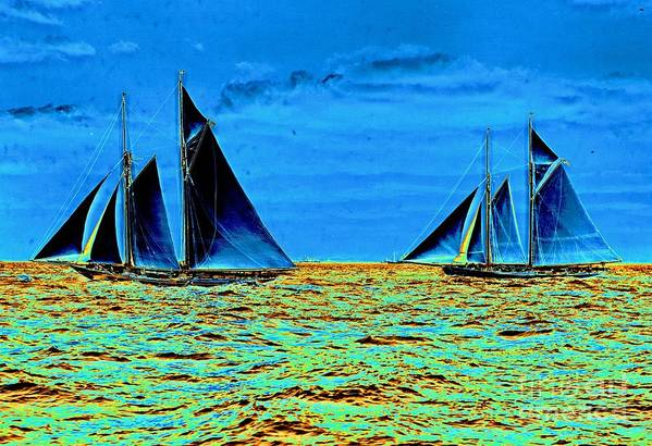 America's Cup Contenders Idler And Hildegarde 1901 Art Print featuring the photograph America's Cup Contenders Idler And Hildegarde 1901 by Padre Art