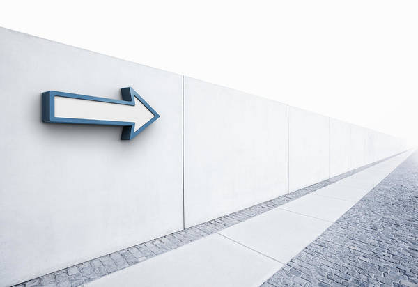 Horizontal Art Print featuring the photograph Arrow Pointing Into Distance by Jorg Greuel