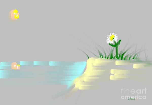 Flower Art Print featuring the painting At The Beach by George Pedro