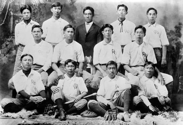 1910s Print featuring the photograph Baseball. Chinese-american Baseball by Everett