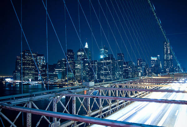 Horizontal Art Print featuring the photograph Brooklyn Bridge And Lower Manhattan By Night by Miemo Penttinen - miemo.net