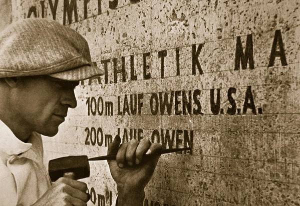 Jesse Art Print featuring the photograph Carving The Name Of Jesse Owens Into The Champions Plinth At The 1936 Summer Olympics In Berlin by American School