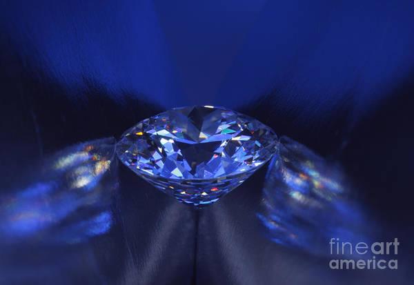 Abundance Art Print featuring the jewelry Closeup Blue Diamond In Blue Light. by Atiketta Sangasaeng