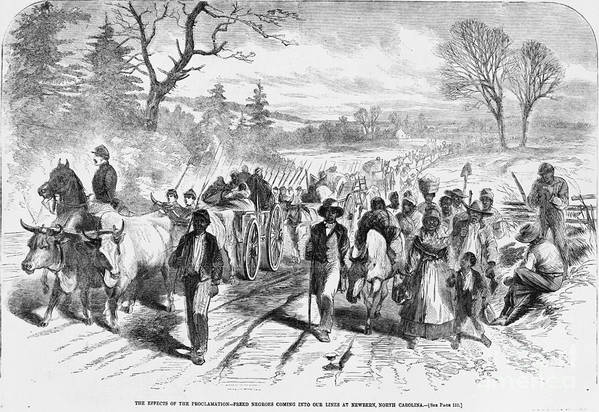 Historical Print featuring the photograph Effects Of Emancipation Proclamation by Photo Researchers