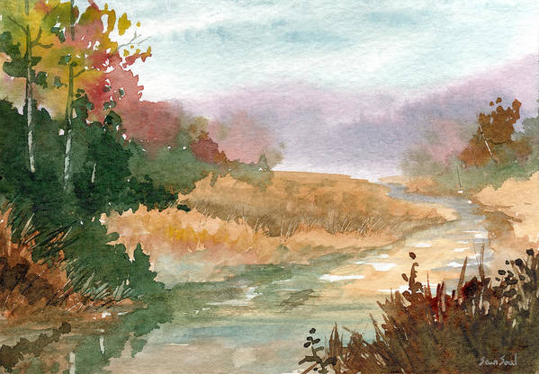 Stream Print featuring the painting Fall Stream Study by Sean Seal