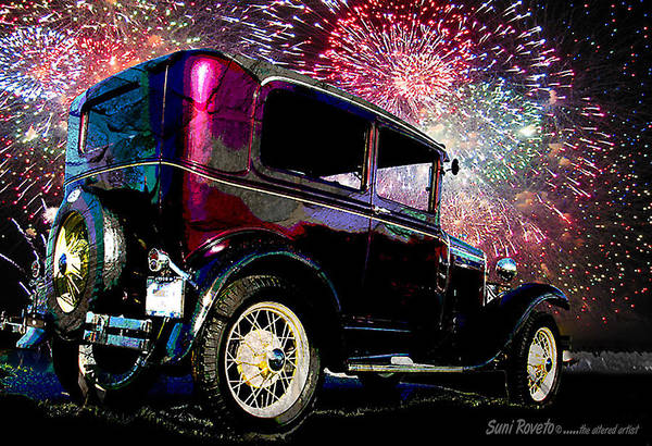 Car Art Print featuring the painting Fireworks In The Ford by Suni Roveto