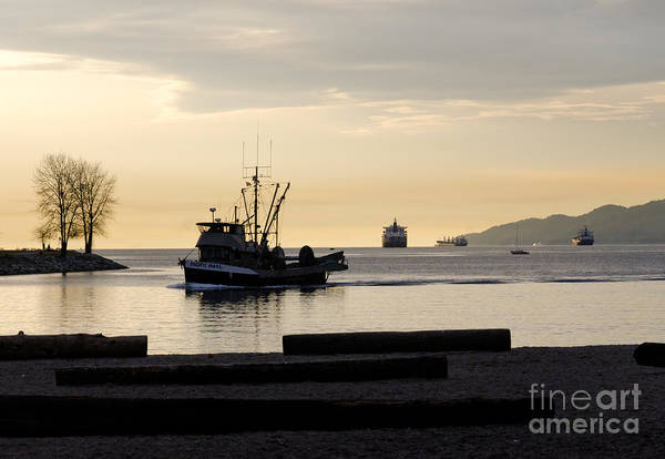 Fishing Art Print featuring the photograph Fisherman Home Returning To Port From The Inside Passage Vancouver Bc Canada by Andy Smy