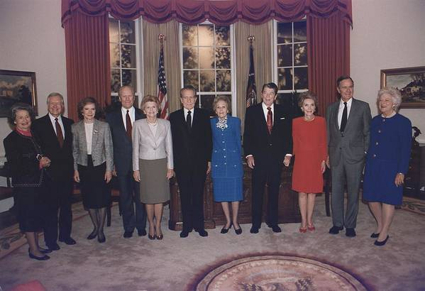 History Art Print featuring the photograph Four Presidents And Five First Ladies by Everett