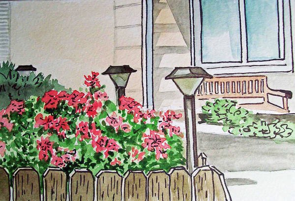 Lights Art Print featuring the painting Front Yard Lights Sketchbook Project Down My Street by Irina Sztukowski