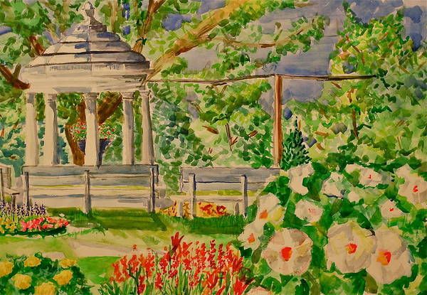 Gazebo Art Print featuring the painting Gazebo by Jame Hayes