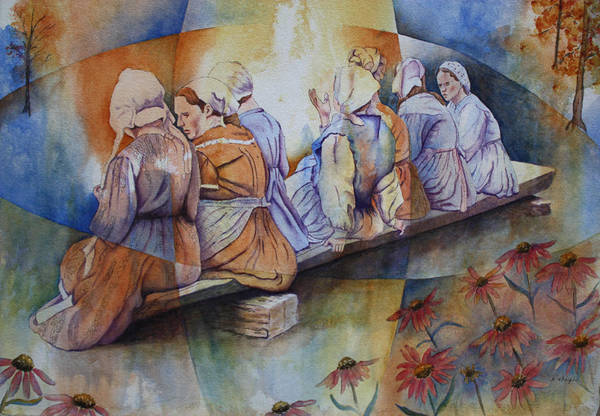 Costumed Figures In Landscape Art Print featuring the painting Gossip Bench by Patsy Sharpe