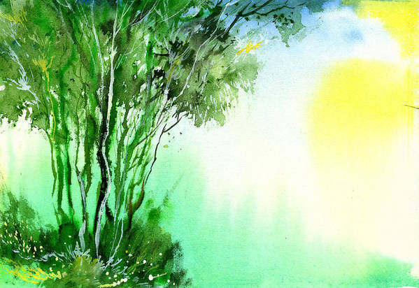 Nature Art Print featuring the painting Green 1 by Anil Nene