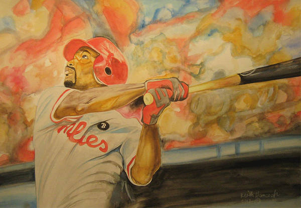 Baseball Print featuring the painting Jimmy Rollins by Keith Hancock