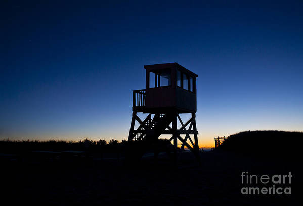 Atlantic Ocean Art Print featuring the photograph Lifeguard Stand At Dawn by John Greim