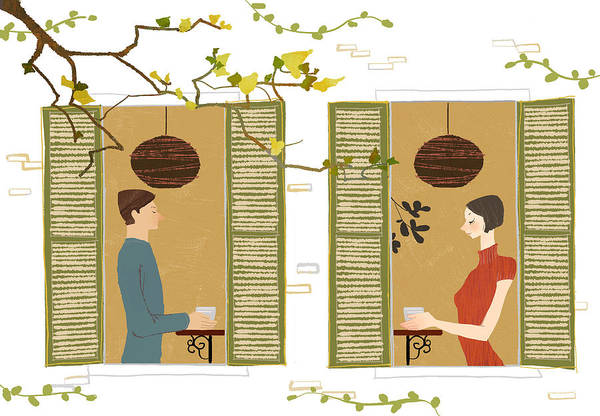 25-29 Years Art Print featuring the digital art Man And Woman Drinking Coffee View From Window by Eastnine Inc.