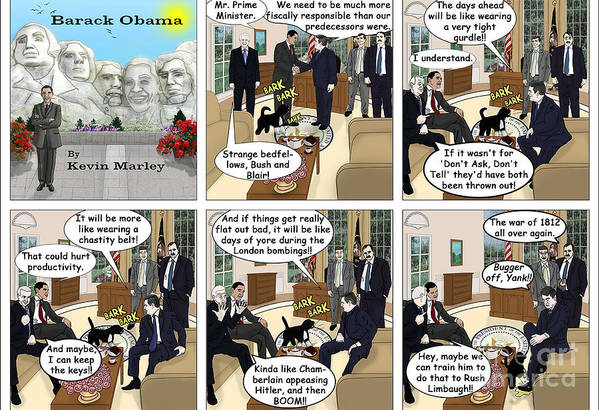Barack Obama Art Print featuring the digital art Meeting Gordon Brown by Kevin Marley