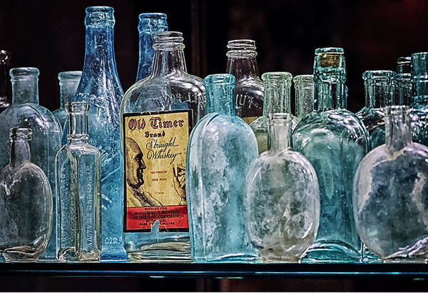 Mob Museum Art Print featuring the photograph Mob Museum Whiskey Bottles by Sandra Welpman