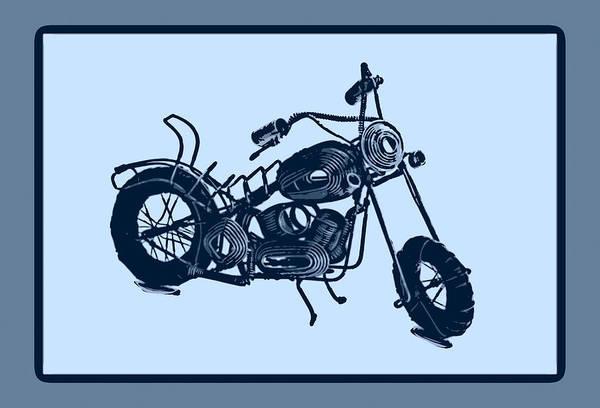 Art Art Print featuring the pyrography Motorbike 1a by Mauro Celotti