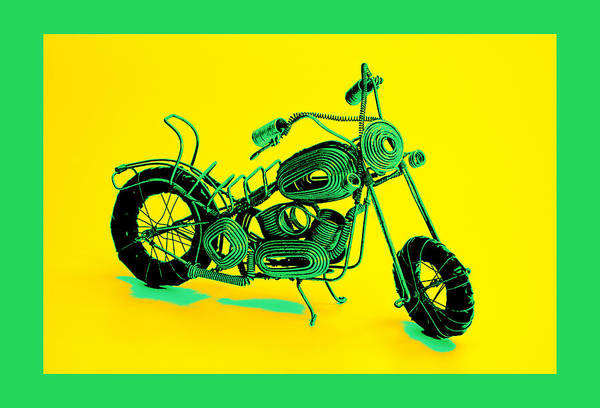 Art Art Print featuring the pyrography Motorbike 1b by Mauro Celotti
