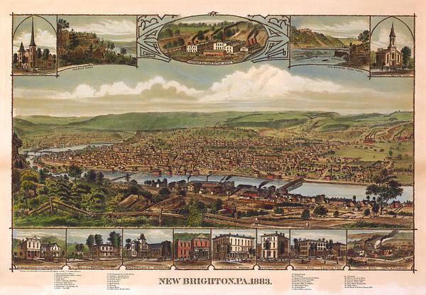 Panoramic Map Art Print featuring the digital art New Brighton Pennsylvania 1883 by Donna Leach