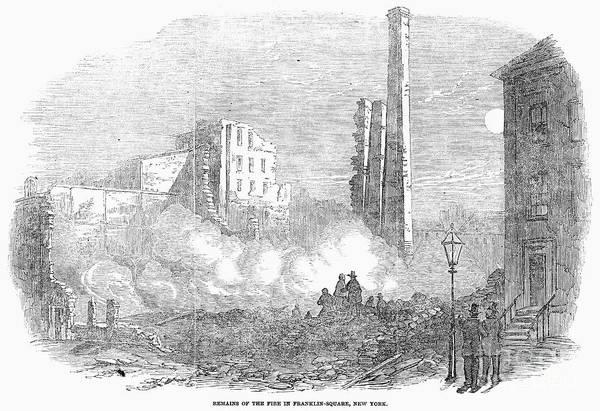 1853 Art Print featuring the photograph New York: Fire, 1853 by Granger