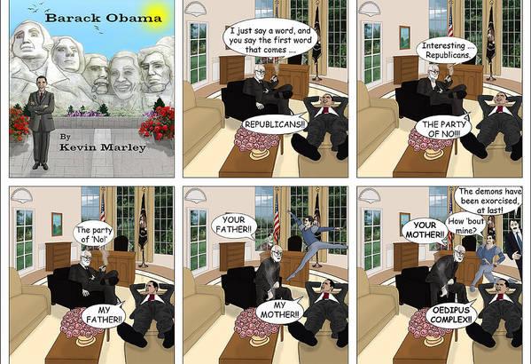 Barack Obama Art Print featuring the digital art Obama N Freud II by Kevin Marley