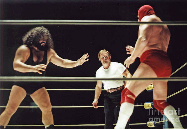 Old School Wrestling Art Print featuring the photograph Pampero Firpo Vs Texas Red In Old School Wrestling From The Cow Palace by Jim Fitzpatrick
