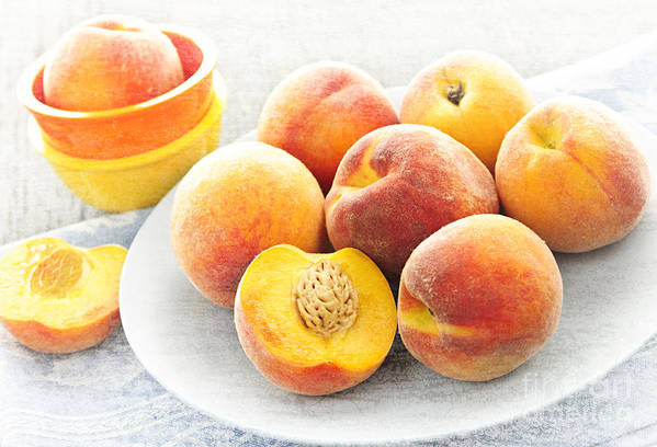 Peaches Art Print featuring the photograph Peaches On Plate by Elena Elisseeva
